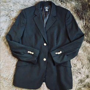 Brooks Brothers Italian Wool Blazer Women 10 Black